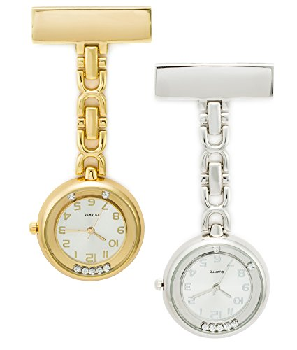SEWOR Floating Diamond Hanging Pocket Watch 2pcs with Deep Blue Brand Leather Box Great Gift (Gold & Silver)