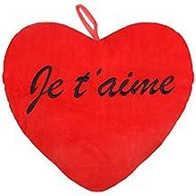 Cojín de peluche con forma de corazón gigante rojo con inscripción en francés Je t'aime negra con cinta para colgar. Idea regalo para San Valentín, ambiente agradable y romántico, Je t'aime 35cm 62/6111, Queen