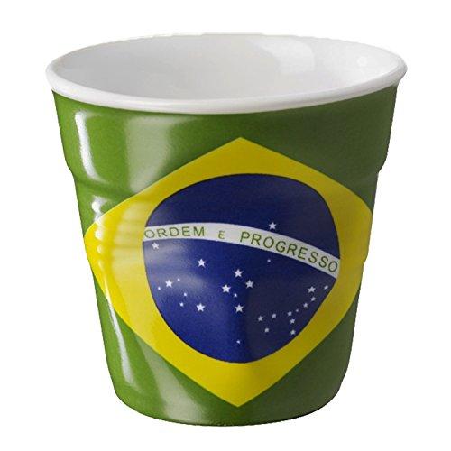 REVOL RV644315 Tasse espresso froissé Drapeau Brésil 6,5cm, porcelaine, multicolore, 6.5 x 6.5 x 6 cm