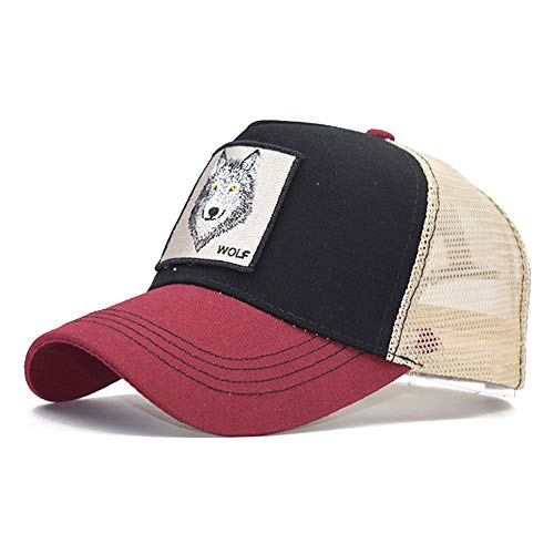 XinFeng Trendy Wild Animal Embroidery Baseball Cap Men and Women Wild Cap Tennis Cap 16 Adjustable - Leder-rolled Strap