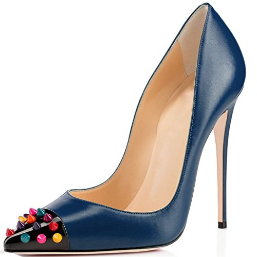 Kolnoo Damen Stiletto High Heel Pumps mit Nieten Party Schuhe Blau