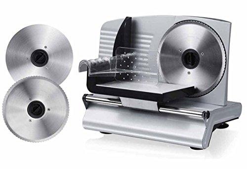 Melissa 16310206 Allesschneider mit Wellenschliff-Messer und Feinschliff-Messer zum Wechseln Brotschneide-Maschine Aufschnitt