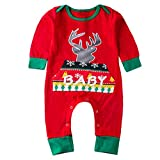 Beikoard Jungen Weihnachten Hirsch Brief drucken Jumpsuit Kleidung Lange Ärmel Outfit Set Schneeoverall Baby Karneval Party Weihnachten Fest