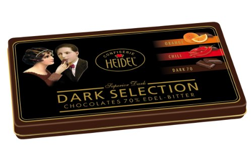 Confiserie Heidel Schmuckdose mit feinen Edelbittertäfelchen, 1er Pack (1 x 120 g Dose) -