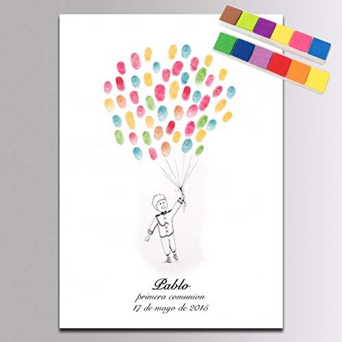 PANDABOOM Personalisierte Benutzerdefinierte Geburtstag Party Boy Ballon Fingerabdruck DIY Anmeldung Malerei Unterschrift Buch 40X60Cm (Ballons Geburtstag Benutzerdefinierte)