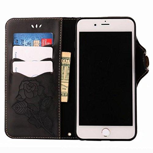 LEMORRY Apple iPhone 7 Plus Custodia Pelle Portafoglio Guardare-Supporto Morbido interno TPU Silicone Bumper Protettivo Magnetico Slot per schede Cuoio Borsa Flip Cover per iPhone 7 Plus con Polso Cin Sogno nero