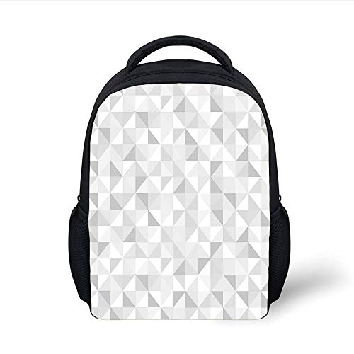 Kids School Backpack Grey,Faded Cubes Geometric Mosaic Squares and Triangles Color Movement Gradient Print Urban Art Decorative,Gray White Plain Bookbag Travel Daypack