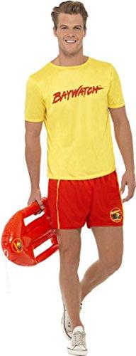 Rettungsschwimmer Kostüm Zubehör - Film & TV Baywatch Lizensiert Kostüm Herren Strand Kostüm Komplettes Outfit - Multi, Large