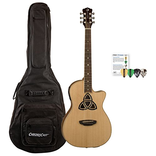 Luna Guitars TRI-PAR KIT02 Trinity Acoustic/Electric Guitar Parlor Cutaway, Natural