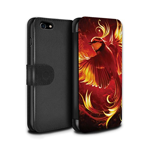 Officiel Elena Dudina Coque/Etui/Housse Cuir PU Case/Cover pour Apple iPhone 8 / Pack 18pcs Design / Les Oiseaux Collection Oiseau de Feu/Enfer