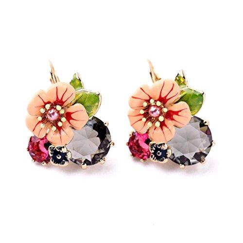 kaariag-punkin-flower-shape-dew-crystal-colored-glaze-earring