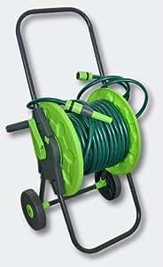 Chariot enrouleur de tuyau d'arrosage pour jusqu'à 60 m de tuyau d'arrosage 1/2 pouce