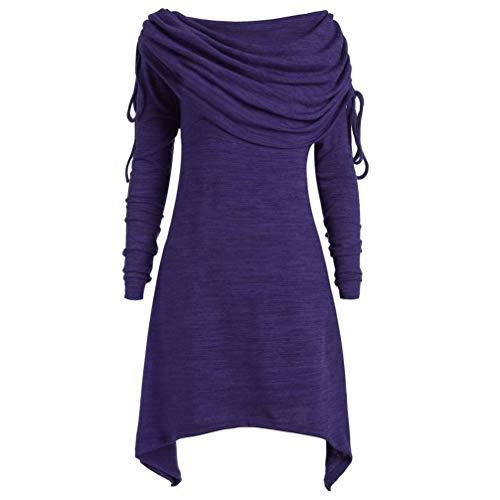MEIbax Damen Plus Size Womens Fashion Solid Geraffte Lange Foldover Kragen Tunika Top Bluse Tops Oberteile Langarmshirt Sweatshirt Pullover