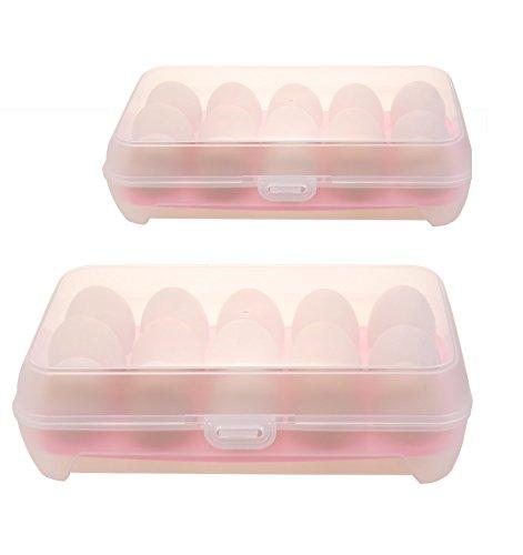TUKA 2x 15er EierBox mit Clipverschluss, Große Kapazität Eierhalter mit Deckel, Kunststoff Eierbehälter Eier Vorratdosen Lagerbehälter Aufbewahrungsbox, Pink, TKD6100 pink-2X