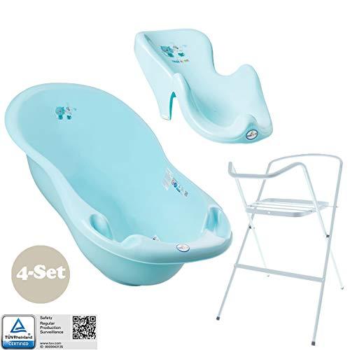 Baby Badewanne mit Gestell und Badewannensitz - Verschiedene Sets mit Babybadewannen + Ständer +Abfluss + Badewannensitz + Töpfchen + WC sitz + Hocker. Tüv geprüft!