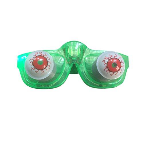 BESTOYARD Slinky Gläser Halloween Gag Witz Slinky Gläser Disguise LED Drooping Augen Frühling Gläser Augapfel-Brille Spielzeug für Kinder (Grün)