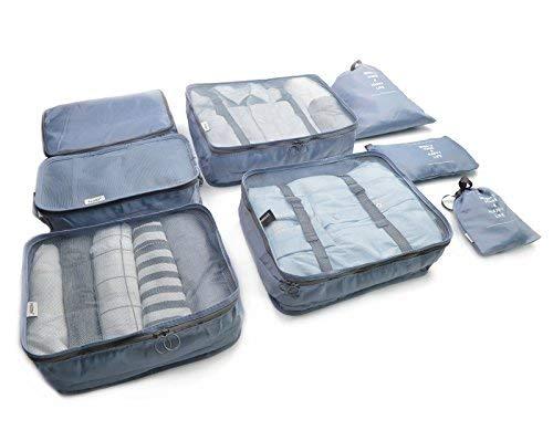 Beschan 8 Sets Reiseveranstalter Verpackungswürfel Gepäck Organizer in Koffer Koffertaschen Reisegepäck Wasserdichte (Grau)