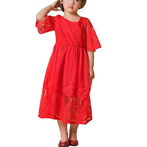 Mädchen-Spitze-Blumen-Kleid-Hülse scherzt beiläufiger Rock mit entfernbarem Bund (3-4 Jahre, (Kostüm Sari Kindes Indischen)