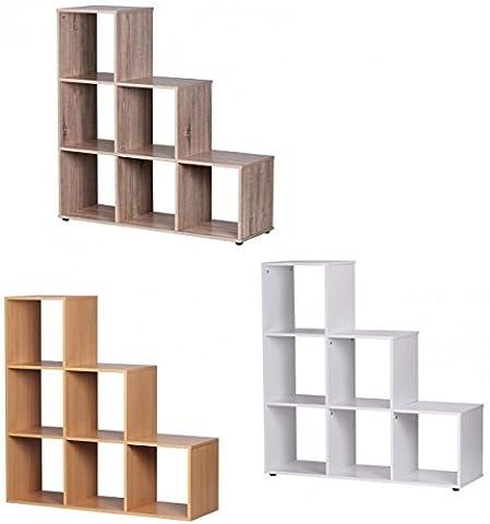 FineBuy Leo Stufenregal 6 Fächer Raumteiler klein Treppenregal Raumtrenner Regal für Dachschräge Bücherregal Holz mit Stufen 110cm breit 33,5cm tief 110/75/40cm hoch freistehend 3 Stufen Buche
