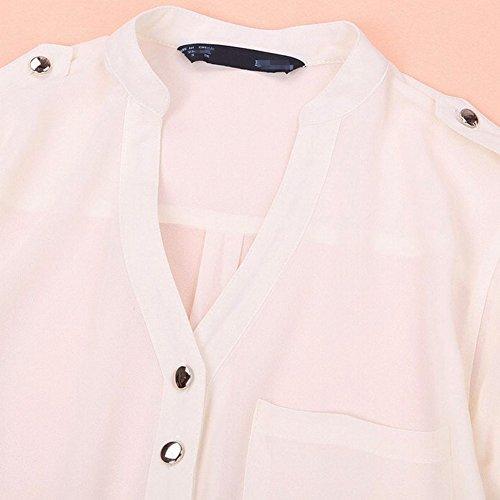 LaoZan Blouse Chemise En Mousseline De Soie Lache Manches Longues V-Cou Bouton Femmes Blanc