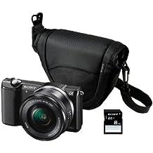 "Sony ILCE-5000L - Cámara EVIL de 20.1 Mp (pantalla articulada 3"", estabilizador, vídeo Full HD, WiFi), negro - kit con objetivo 16-50mm f/3.5 OSS, funda y tarjeta SD de 8 GB"