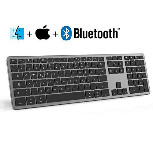 seenda Bluetooth Kabellose Tastatur, Ultra Dünn wiederaufladbare Aluminium-Funktastatur kompatibel für Mac OS und iOS, Deutsches Layout QWERTZ, Space Grau.