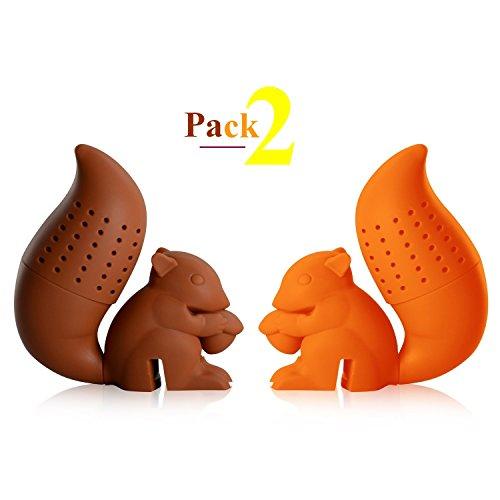 faultier teesieb iNeibo silikon teesieb teefilter, sehr lustiges Eichhörnchen Design BPA frei (2er Pack)