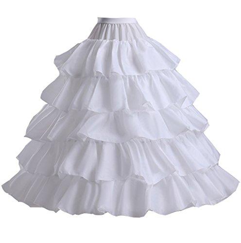 Edith qi Damen Reifrock, 2/3/4 Ringe Unterröcke für Hochzeit Brautkleid, Verstellbar Unterrock Crinoline Petticoat Slip, Eine Größe, für Gr. 34 bis Gr.50 (Brautkleid Petticoat)