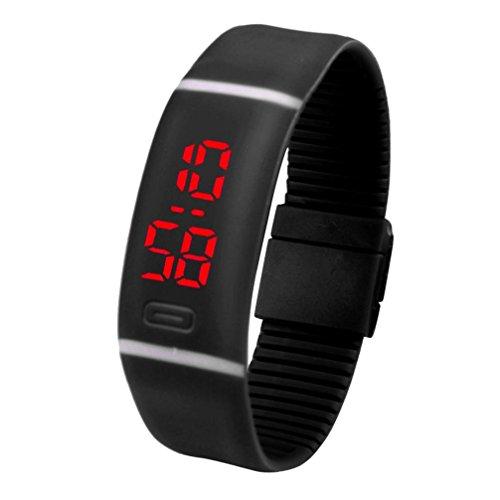 Amlaiworld LED Watch ,Unisex LED rosso sport esecuzione orologio data gomma bracciale orologio digitale (nero)