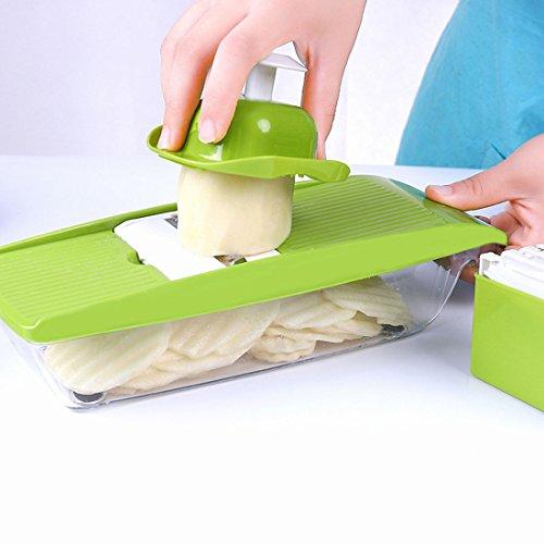 Klare Zu Kunststoff-container Gehen (5-in-1 Kompakter Mandoline Gemüsehobel,Ideal zum Hobeln von Obst und Gemüse,Kartoffelschneider Gemüse,Schneider,Scheiben,Reiben,Julienne und Aufbewahren)