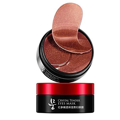 Rote Ginseng-Kollagen-Augenmaske, Augenmaske für Augenringe, Feuchtigkeitscreme, Tränensäcke und Augenpflegemittel unter den Augenpads Feuchtigkeitscreme 60 Stück -