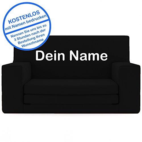 2 in 1 Kindersofa in Schwarz mit Waschbarem Überzug - Als Geschenk Individuell Bedrucken - Schaumstoff aus Deutschland Spielzeug Couch und Bett Schlaf Matratze zum Auffalten für Kinder von 1-4
