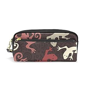 coosun étnico Gecko patrón portátil piel sintética estuche escolar pluma bolsas papelería funda gran capacidad de maquillaje bolsa