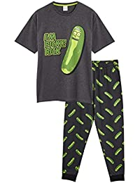 Rick and Morty Pijama Hombre Invierno Algodon 100%, Conjunto de Dos Piezas Camiseta y Pantalon Largo, Diseño Rick y Morty, Regalos para Hombres Adolescentes