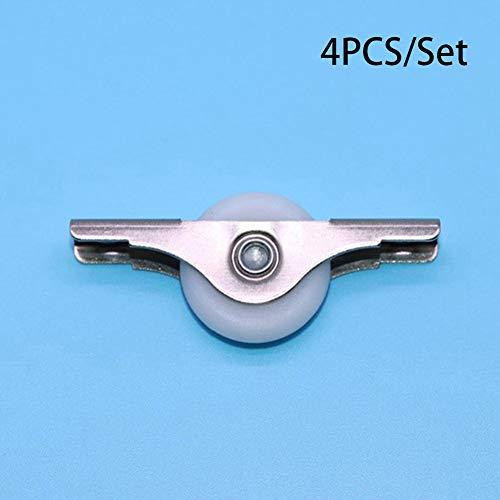 25mm Schrank Rollen, Home Möbel Kleiderschrank Tür Fenster Schiebetür Roller Pulley–Set von 4, silber