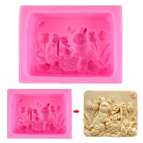 Stampo in silicone per sapone, decorazione in argilla, coniglio, pasquale, torte, sapone, fai da te taglia libera rosa