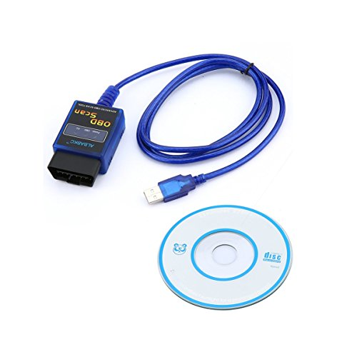 JullyeleFRgant Scanner de l'instrument de Diagnostic ELM327 de Voiture d'interface AL004-BL Mini USB Compatible avec Le commutateur MS-Can HS-Can Bleu