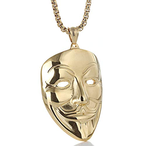ZHBSS Edelstahl Clown Maske Anhänger Punk Halskette männliche Flut Retro Titan Stahl V-förmigen Tag Gold (Clown Cool Masken)