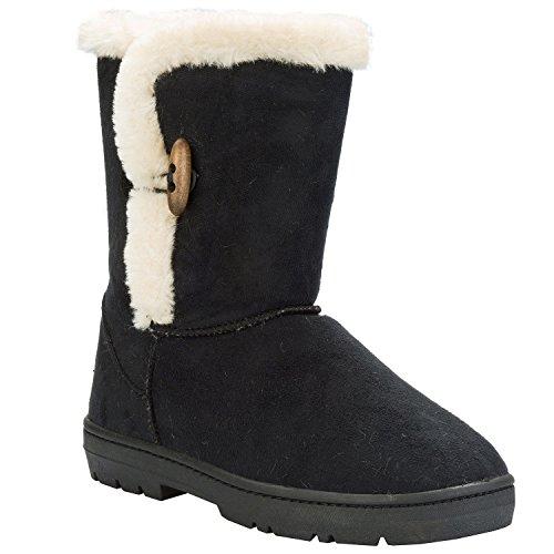 Im stilvollen Kilburn-Kippschalter Damen Damen Stiefel Schwarz (High Toe Round Knee Boots)