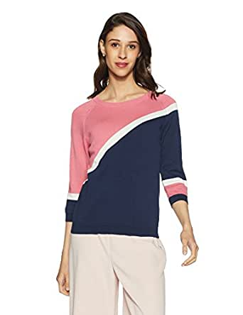 United Colors of Benetton Women's Regular Fit Long Sleeve Top (18P1088E1021I_Peacoat+Bubblegum+Show White_M)