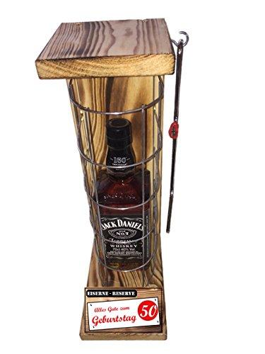 """""""Alles Gute zum 50 Geburtstag"""" Eiserne Reserve mit Jack Daniel's 0,70L incl. Säge zum zersägen des Gitter - Geschenk für Männer- Geschenk für Frauen"""