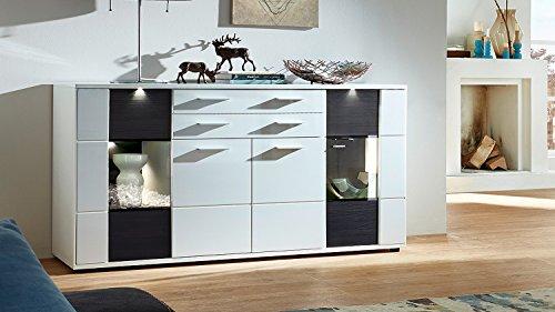 Wohnzimmer Sideboard Clou Anrichte Schrank weiß Hochglanz anthrazit mit LED