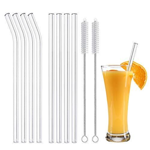 Glas Strohhalm Wiederverwendbar Glas Trinkhalme Eco NachhaltigeStrohhalme für Cocktail Smoothie Tee, 8er Set Mit 2 Reinigungsbürsten
