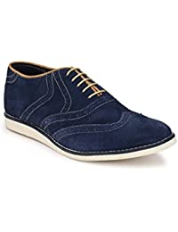 Zeboot Men's Suede Leather Brogue Casuals Shoes (Blue, Maroon) In All Sizes