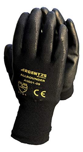 TIMELEOS 12 Paar Arbeitshandschuhe Herren schwarz Nylonhandschuhe Montagehandschuhe Gloves für den Garten Mechaniker Handwerk-Baustelle-Hobby [Gr. 9 schwarz] (Herren Grip Arbeitshandschuhe)