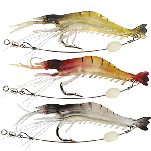 Jinxuny Soft Fishing Lure Tackle Mimic Shrimp Bait Rig Crankbait Hook -