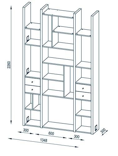 MAJA Raumteiler Wandregal Cableboard 6030 in Edelbuche 134x226x30cm Bücherregal Wohnwand - 4