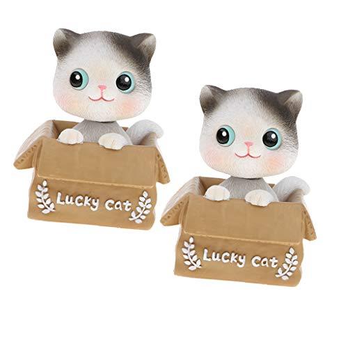 SM SunniMix 2 Stücke Wackelfigur, Wackelkopffiguren Glücklichen Katze Figur Wackeltier, Auto Ornament Wohnkultur (Kunststoff Katze Und Hund Figuren)