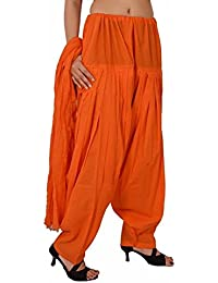 Rooliums Women's Cotton Dress Material (HRSALDUPATTAO_Free Size_Orange)