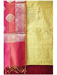 3cb6567475 YouthIconz Women's Chanderi Silk Unstitched Dress Material  (4823_Yellow_Free Size)
